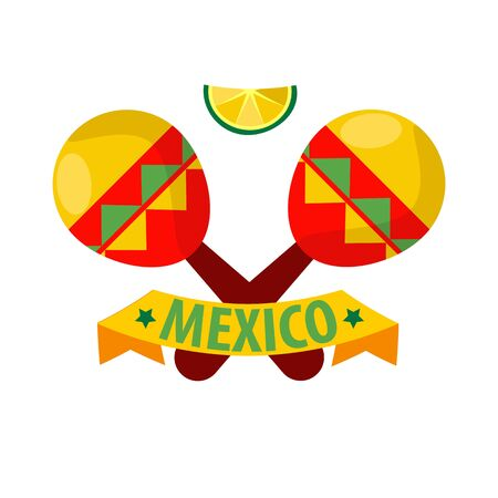 Mexican musical crossed maracas logotype in flat isolated on white