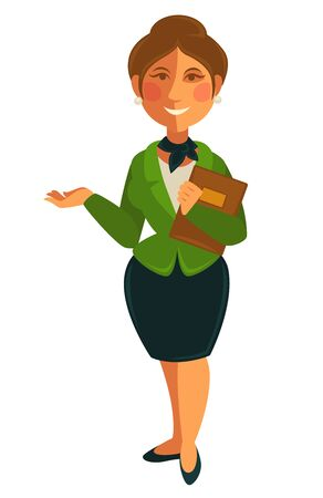 Teacher woman of school university profession vector flat isolated icon