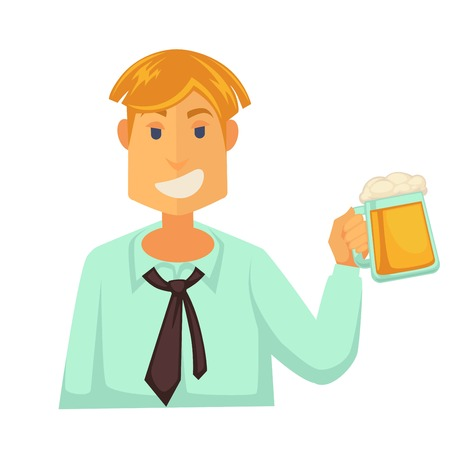 Man holding glass of beer with foam isolated on white Illustration