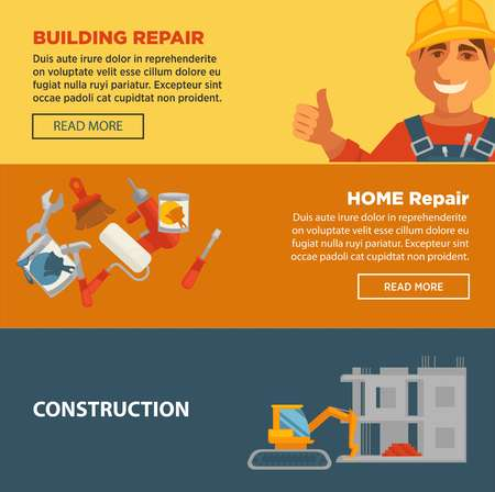 home equipment: Building and home repair construction vector web banners set. Equipment