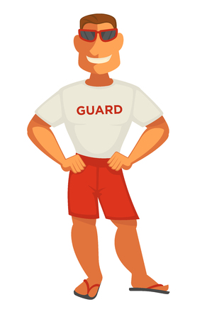 Guard in white t-shirt and shorts smiling.