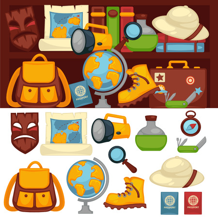map case: Tourists set of necessary things and clothes for travel