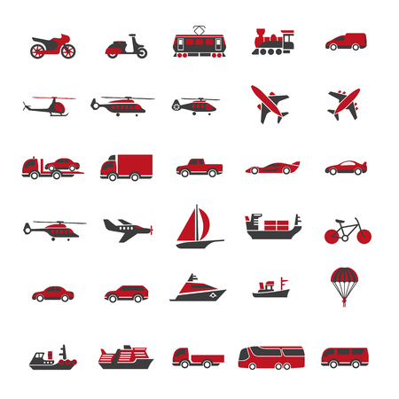 railway transport: Public passenger transport of air, railway and marine vector icons