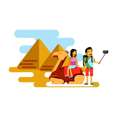 Summer vacation poster vector illustration. Couple resting in Egypt
