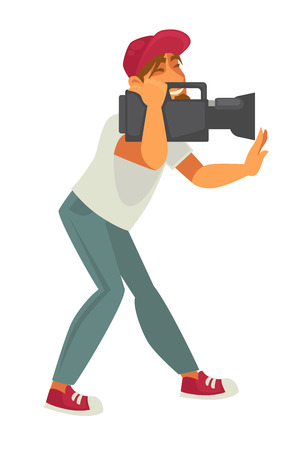Film director with video camera isolated on white background. Production