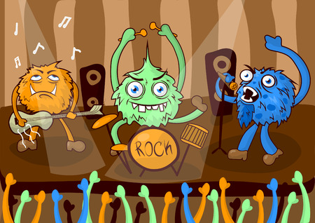 disguised: Rock concert music band of cartoon monsters vector illustration