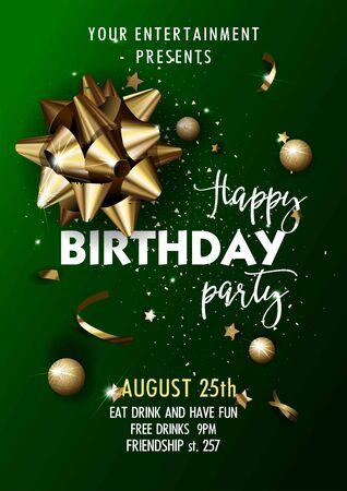 Happy Birthday invitation poster template. Illustration