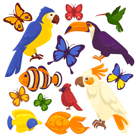 Exotic birds, tropical fishes and butterfly vector icons set