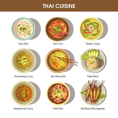 Cartel de cocina tailandesa con platos tradicionales en blanco
