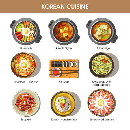 national: Korean cuisine flat vector collection of dishes on white