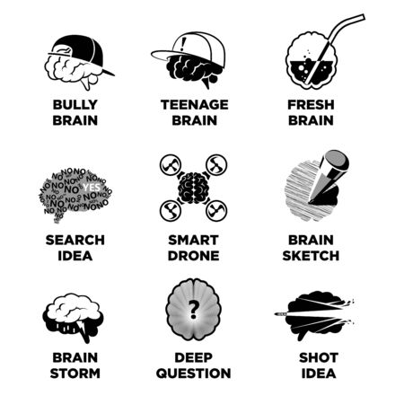 teenagers learning: Human brain signs with ideas colorless vector collection