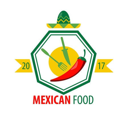 heptagon: Mexican food logo design with kitchen cutlery and red chili Illustration