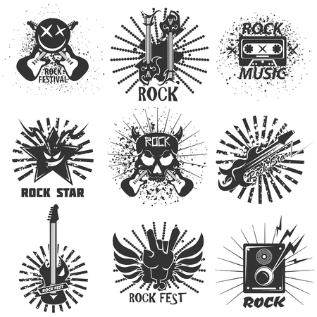 Rock band festival icons, skull and guitar vector emblems templates Ilustrace