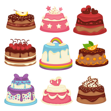 Decorated sweet festival cakes collection isolated on white