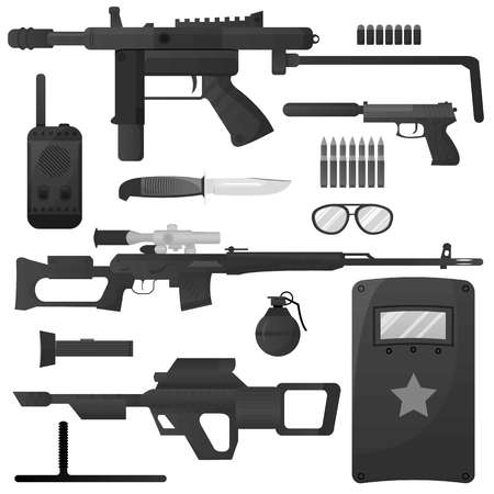 soldiers: Military weapon, army special forces arms ammunition vector icons
