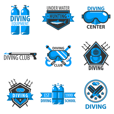 harpoon: Scuba diving center or underwater hunt club vector template icons