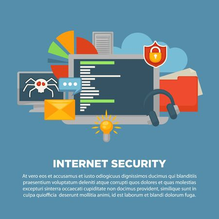 internet protection: Internet security and computer malware digital protection vector poster