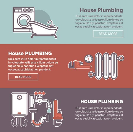 fixture: House plumbing and plumber fixture vector web banners templates Illustration