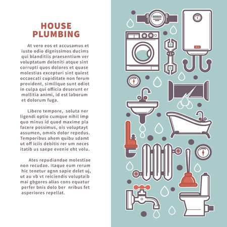 House plumbing vector poster infographics of bathroom and kitchen icons