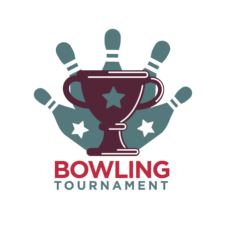 competitions: Bowling tournament poster or logo vector template