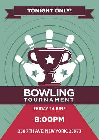 win: Bowling tournament poster template. Illustration