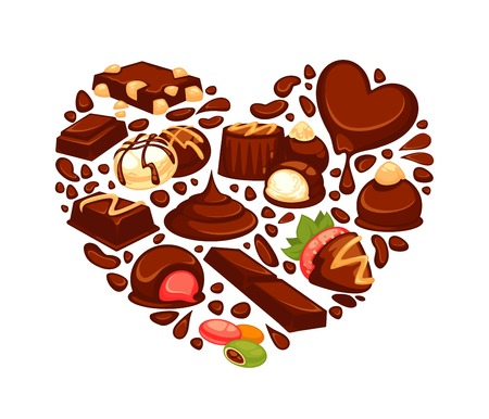 Chocolate heart poster template of confectionery desserts and truffle candy