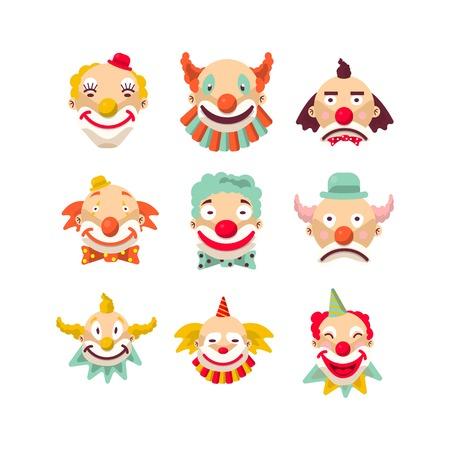 Clown gezichten vector geïsoleerde pictogrammen set. Stock Illustratie