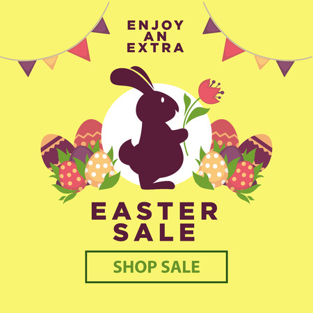 web shopping: Easter sale poster for online shopping delivery or internet store promo discount web page. Illustration