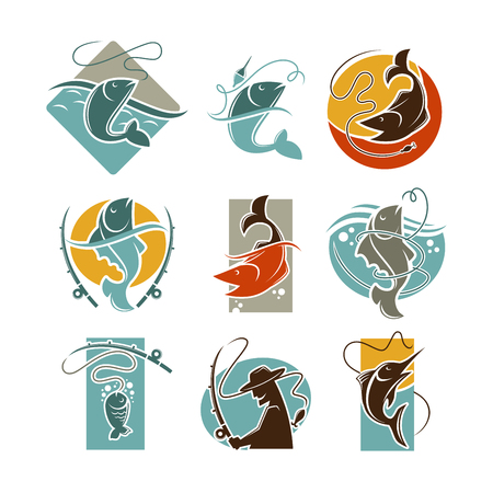 Fishing concept vector poster on white.