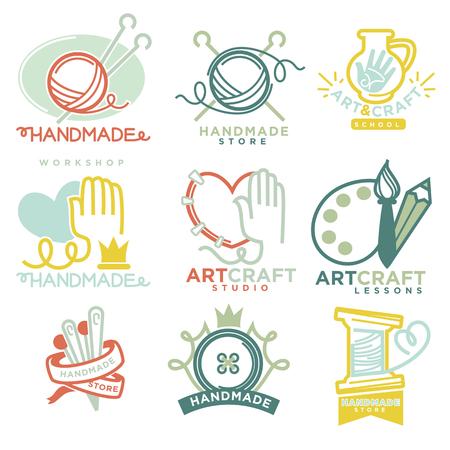 ceramica: Art and handmade craft logo templates flat set. Vectores