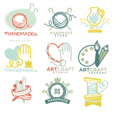 ceramiki: Sztuka i rzemiosło ręcznie logo szablony płaskie zestaw. Ilustracja