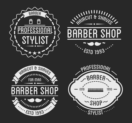 massage symbol: Set of vintage barber shop logo and beauty spa salon badges.