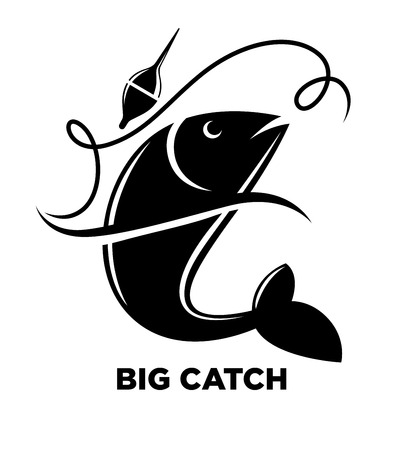 Fishing icon of fish on hook for fisherman club or fishery sea sport adventure logo template. Illustration