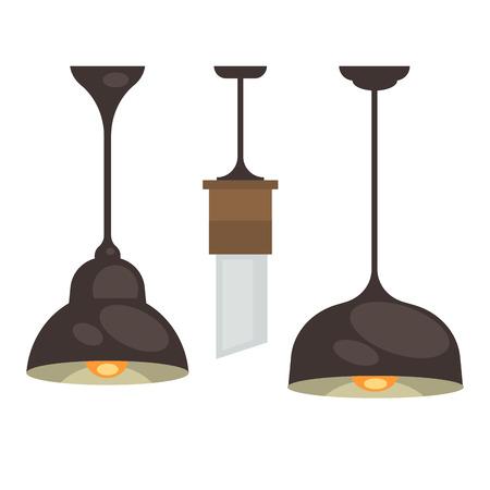 classic furniture: Lamp set isolated. Interior light design.