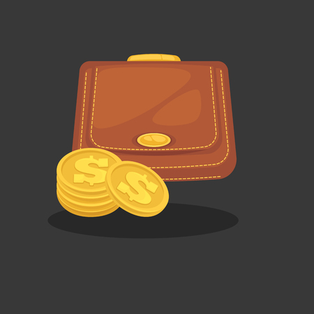 cash money: Wallets with money shopping. Purse  cash. Illustration