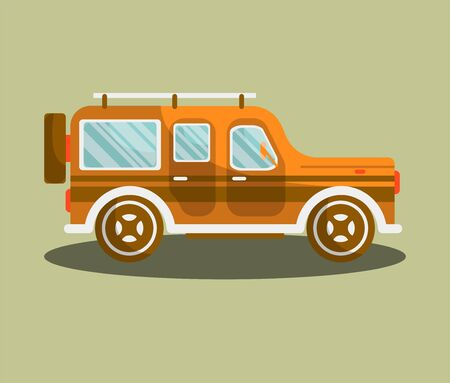 car: Camper bus or camping van vector flat isolated icon.