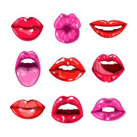 Female glossy colored lips that kiss and show tongue, white teeth or smile and happy, surprised or excited emotions.
