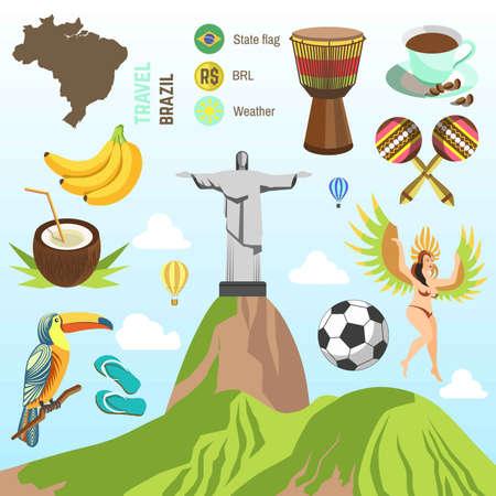 popular: Brazil travel vector famous Brazilian sightseeing and culture landmarks Illustration