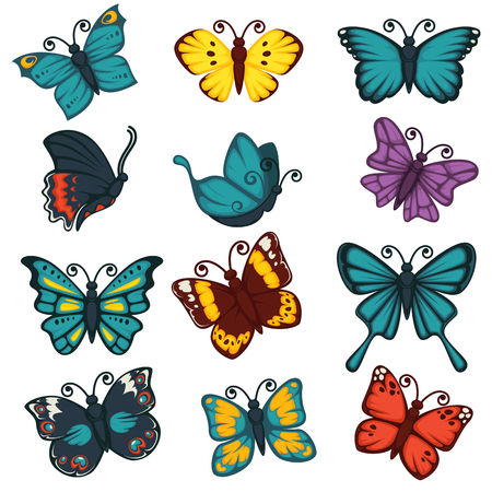 flit: Butterflies species types decoration design element vector icons set