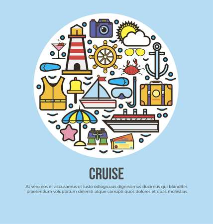 cruise travel: Sea cruise travel or summer ocean vacation vector poster