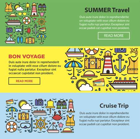 palm: Summer travel and sea cruise vacation web banners vector templates Illustration
