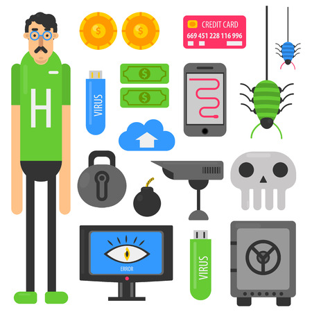 website: Internet hacker computer phishing malware viruses vector flat icons
