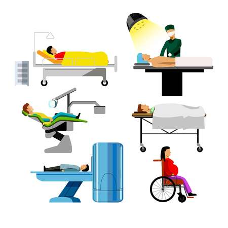Hospital patients of dentist, surgeon, mri medical icons flat set Illustration