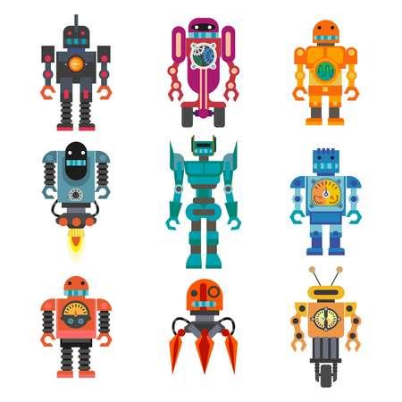 character cartoon: Robots and transformers retro cartoon toys flat icons set Illustration