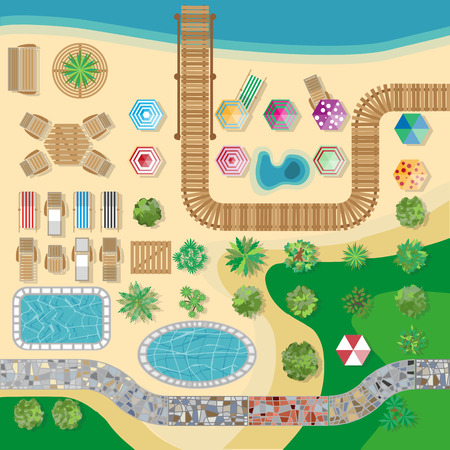 poolside: Swimming pool hotel resort vector layout template