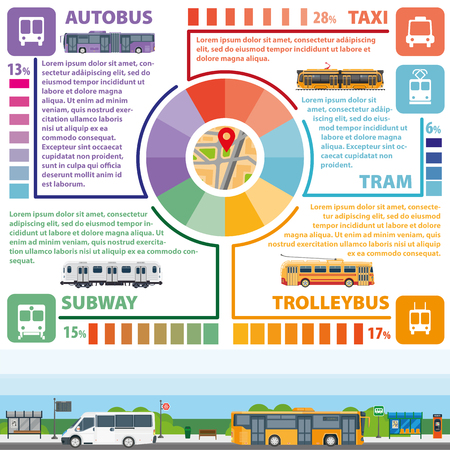 intercity: Passenger public transport vector infographics flat template