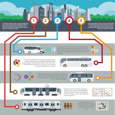 intercity: Public city transport vector passenger infographics flat template Illustration