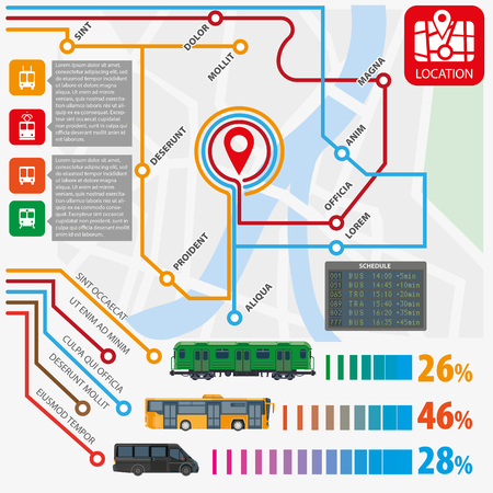 intercity: Public transport routes stations statistics vector infographics flat template Illustration