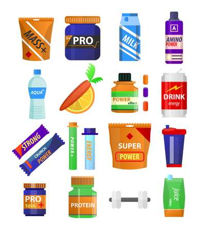 Sport and fitness nutrition and dietary supplements vector flat icons