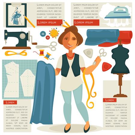 hangers: Atelier tailor or dressmaker designer profession woman vector flat template